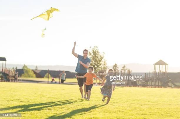 papagaios do vôo do paizinho com seus miúdos no parque - innocence - fotografias e filmes do acervo