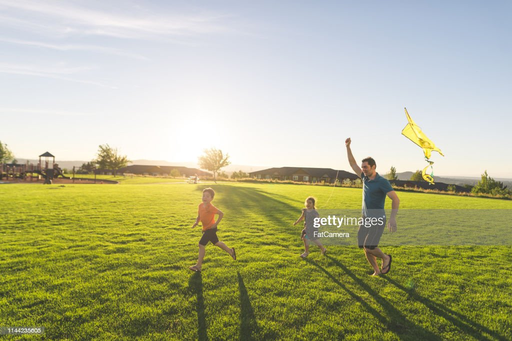 Dad flying kites with his kids at the park : Stock Photo