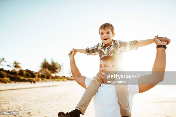 dad is flying with the son