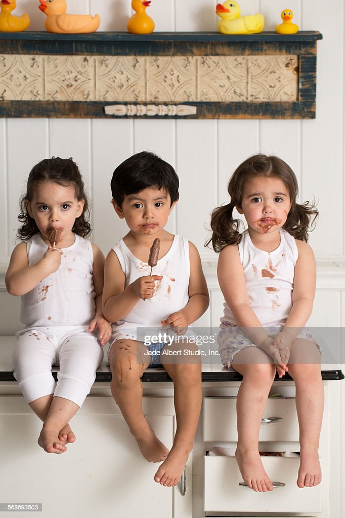 Dad with kids : Stock Photo