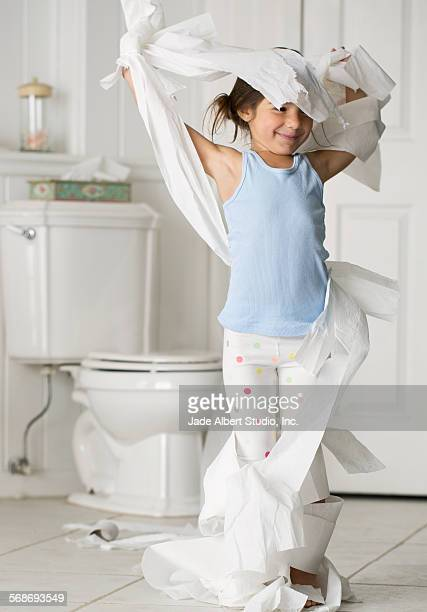 dad with kids - wrapped in toilet paper stock pictures, royalty-free photos & images
