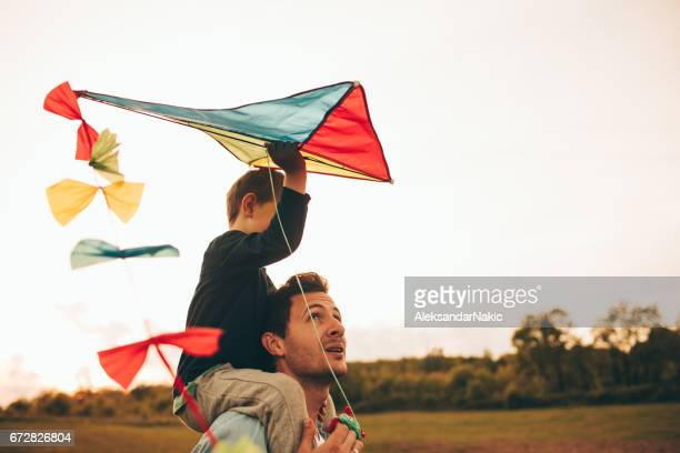 Daddy and me running a kite