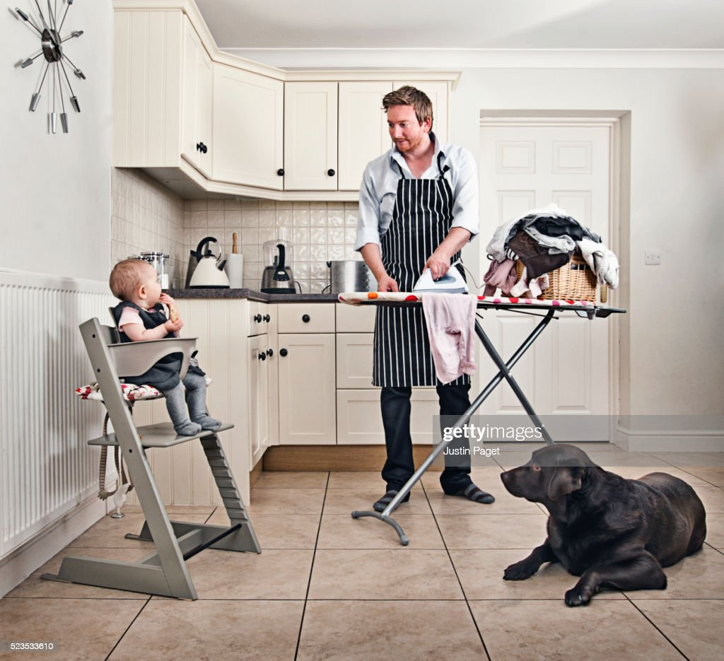 Daddy Day Care Father Ironing High Res Stock Photo Getty Images