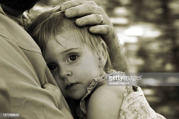 Daddy Protect Me: Girl Clinging to Father