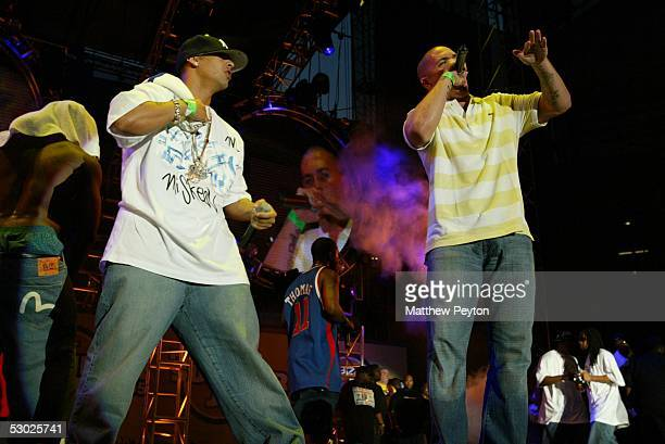 Daddy Yankee and Pitbull perform at the Hot 97 Summer Jam 2005 Concert June 5 2005 at Giant Stadium in East Rutherford New Jersey