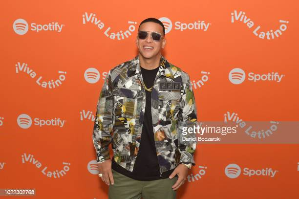 Daddy Yankee arrives at Spotify Kick Off Â¡Viva Latino Live Concert Series in Chicago with Bad Bunny Becky G Jowell Randy and Natti Natasha at...