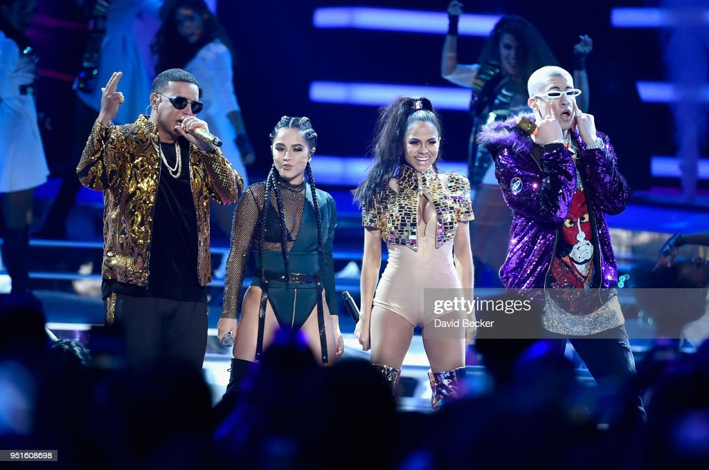 Daddy Yankee, Becky G, Natti Natasha, and Bad Bunny perform onstage at the 2018 Billboard Latin Music Awards at the Mandalay Bay Events Center on April 26, 2018 in Las Vegas, Nevada.