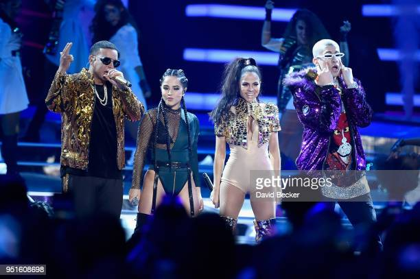 Daddy Yankee Becky G Natti Natasha and Bad Bunny perform onstage at the 2018 Billboard Latin Music Awards at the Mandalay Bay Events Center on April...