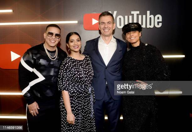 Daddy Yankee Lilly Singh YouTube Cheif Business Officer Robert Kyncl and Alicia Keys at YouTube Brandcast 2019 at Radio City Music Hall on May 02...