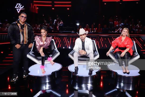 Daddy Yankee Natti Natasha Joss Favela and Olga Tanon judge Univision's Reina de la Cancion at Univision Studios on August 7 2019 in Miami Florida
