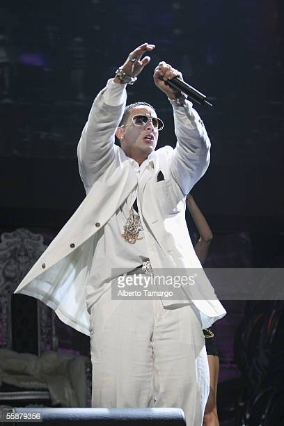 Daddy Yankee performs at the American Airlines Arena on October 7 2005 in Miami Florida