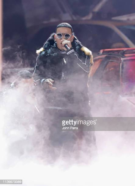 Daddy Yankee performs on stage at Univision's 31st Edition Of Premio Lo Nuestro A La Musica Latin at American Airlines Arena on February 21 2019 in...