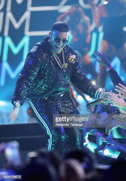 Daddy Yankee performs on stage at Univision's Premios Juventud 2018 at Watsco Center on July 22 2018 in Coral Gables Florida