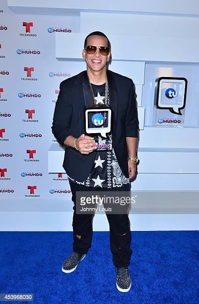 Daddy Yankee poses backstage at Telemundo's Premios Tu Mundo Awards 2014 at American Airlines Arena on August 21 2014 in Miami Florida