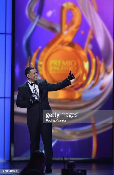 Daddy Yankee speaks onstage at Premio Lo Nuestro a la Musica Latina 2014 at American Airlines Arena on February 20 2014 in Miami Florida
