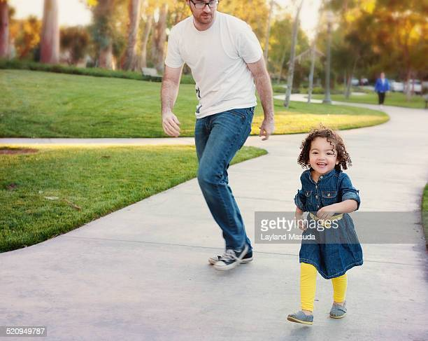 Daddy's Girl Running And Laughing