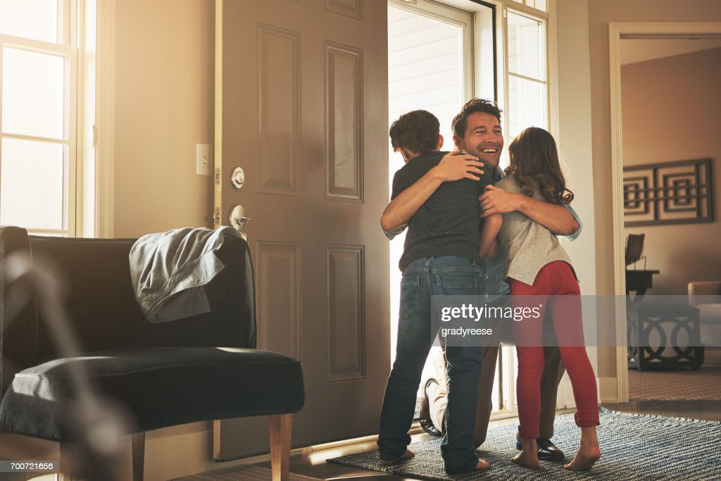 Daddy's home! : Stock Photo