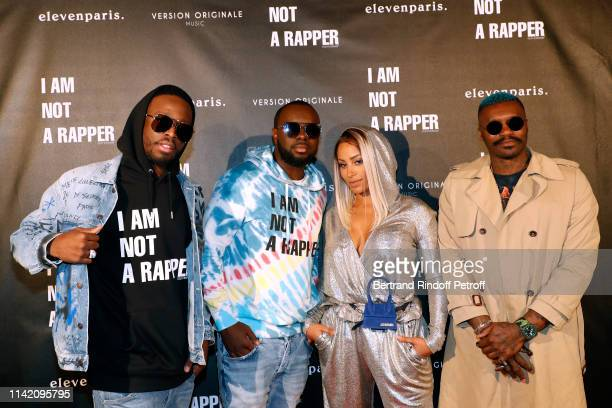 Dadju his brother singer Gims his wife Demdem and Football player Djibril Cisse attend the I am not a Rapper Capsule Collection Launch Party...