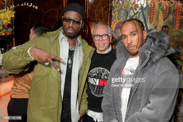 Dadju Tommy Hilfiger and Lewis Hamilton attend the TOMMYNOW after party at Annabels on February 16 2020 in London England