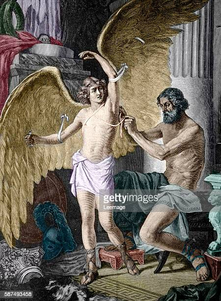 Daedalus equipping his son Icarus with wings Engraving private collection