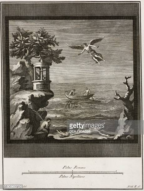 Daedalus looking at his son Icarus lying on the beach with a broken wing Herculaneum Campania Italy engraving by Carlo Nolli from a drawing by Vanni...