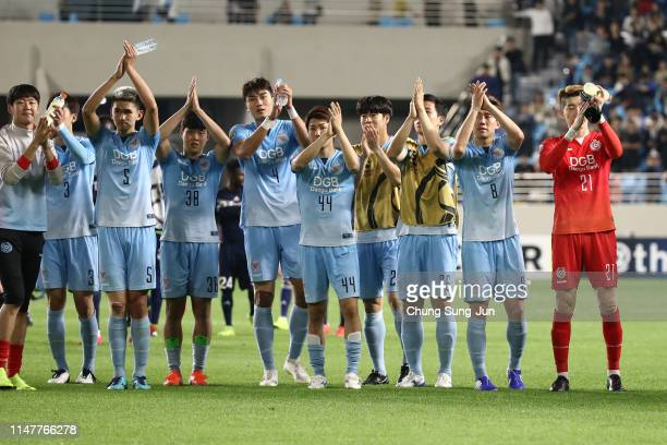 Daegu FC players react after the AFC Champions League Group F match between Daegu FC and Melbourne Victory at Daegu Forest Arena on May 08, 2019 in...