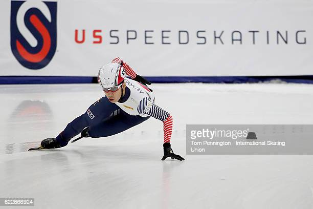 Daeheon Hwang of Korea competes in the Men's 1000 meter rep semi final during the ISU World Cup Short Track Speed Skating event on November 12 2016...