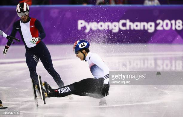 Daeheon Hwang of Korea falls during the Short Track Speed Skating Men's 1000m Quarterfinals on day eight of the PyeongChang 2018 Winter Olympic Games...