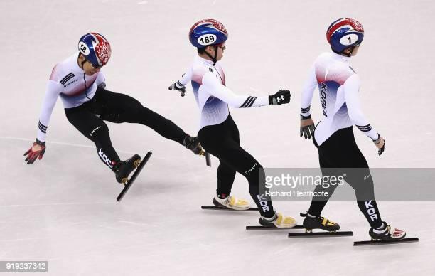 Daeheon Hwang of Korea Hyojun Lim of Korea and Yira Seo of Korea compete during the Short Track Speed Skating Men's 1000m quarterfinals on day eight...