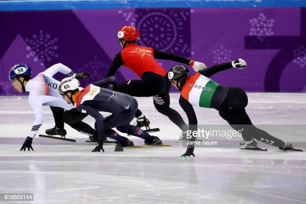 Daeheon Hwang of Korea leads during the Men's 1500m Short Track Speed Skating semifinals on day one of the PyeongChang 2018 Winter Olympic Games at...