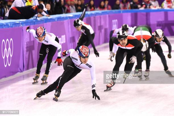 Daeheon Hwang of Korea leads the turn during the Men's 5000m Relay Short Track Speed Skating heat 2 on day four of the PyeongChang 2018 Winter...