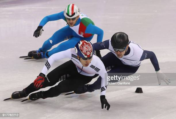 Daehon Hwang of South Korea competes during the Men's 1000m Short Track Speed Skating qualifying on day four of the PyeongChang 2018 Winter Olympic...