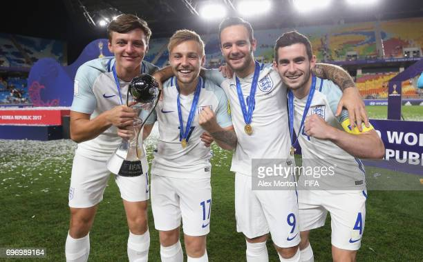 Dael Fry Harry Chapman Adam Armstrong and Lewis Cook clebrate with the trophy aftrer the FIFA U20 World Cup Korea Republic 2017 Final match between...