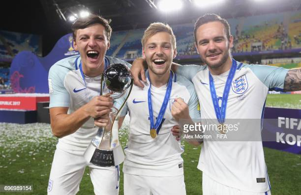 Dael Fry Harry Chapman and Adam Armstrong clebrate with the trophy aftrer the FIFA U20 World Cup Korea Republic 2017 Final match between Venezuela...