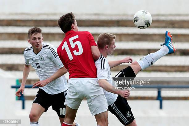 Dael Fry of England challenges Ole Kauper Philipp Ochs of Germany during the Under17 Algarve Cup between U17 England and U17 Germany at Lagos sport...
