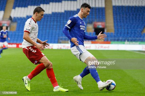 Dael Fry of Middlesbrough and Kieffer Moore of Cardiff City in action during the Sky Bet Championship match between Cardiff City and Middlesbrough at...