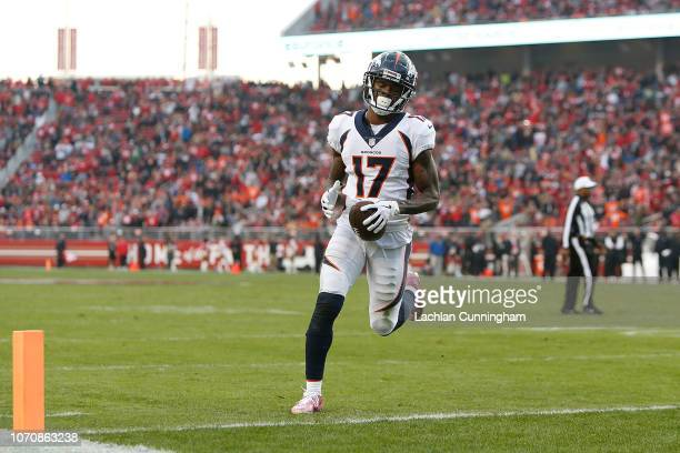 DaeSean Hamilton of the Denver Broncos crosses the goal line to score a touchdown against the San Francisco 49ers at Levi's Stadium on December 9...