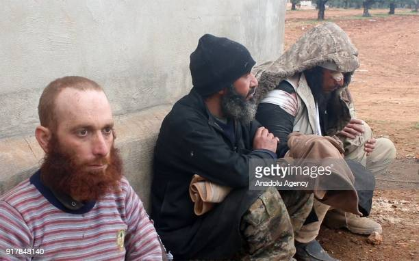 Daesh militants who tried to infiltrate Idlib deescalation zone via Assad Regime's corridor are seen after they were captured by Syrian opponents in...