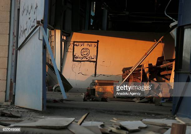 Daesh terrorists' socalled logo is seen on a wall in a building at Mosul University Campus as Eastern part of city completely liberated from Daesh...