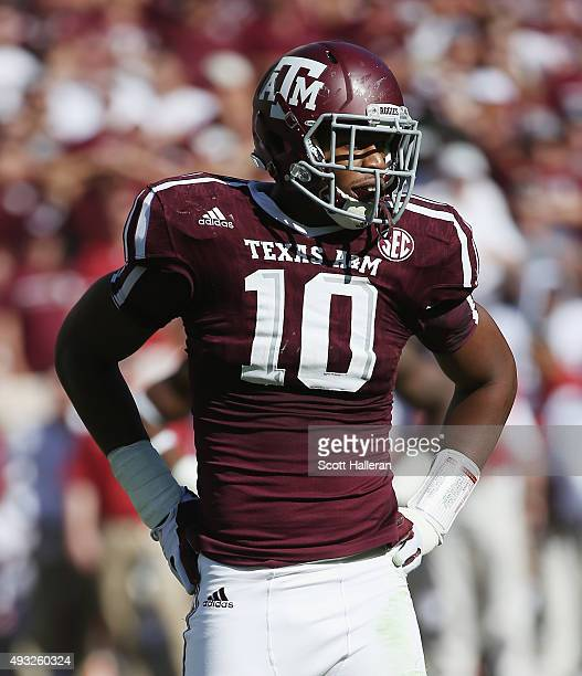Daeshon Hall of the Texas AM Aggies is seen on the field during their game against the Alabama Crimson Tide at Kyle Field on October 17 2015 in...
