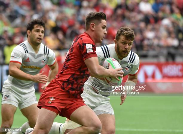 Daf Smith of Wales carries the ball against USA during World Rugby Sevens Series action in Vancouver Canada March 9 2019
