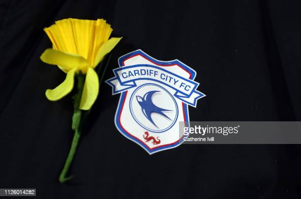 A daffodil next to the Cardiff City badge in tribute to Emiliano Sala during the Premier League match between Arsenal FC and Cardiff City at Emirates...