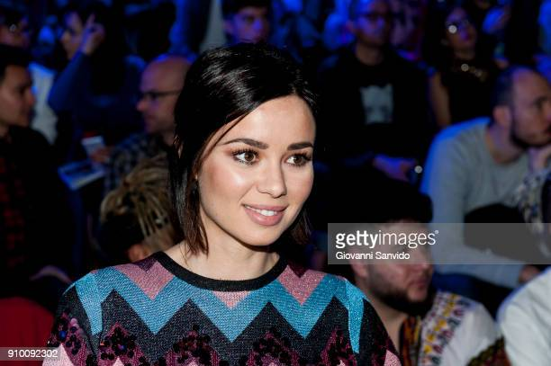 Dafne Fernandez is seen at the Maria Escote show during the MercedesBenz Fashion Week Madrid Autumn/Winter 201819 at Ifema on January 25 2018 in...