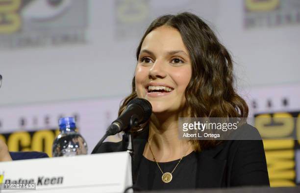 Dafne Keen speaks at the His Dark Materials panel and QA during 2019 ComicCon International at San Diego Convention Center on July 18 2019 in San...
