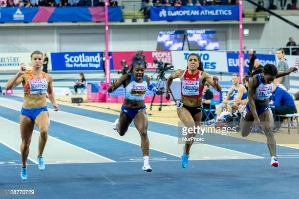 Dafne NED PHILIP Asha GBR KAMBUNDJI Mujinga SUI and AWUAH Kristal GBR competing in the 60m Women Final event during day TWO of the European Athletics...