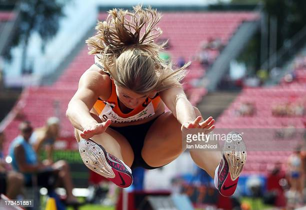Dafne Schipper of Netherlands competes in the final of the Women's Long Jump during day four of The European Athletics U23 Championships 2013 on July...