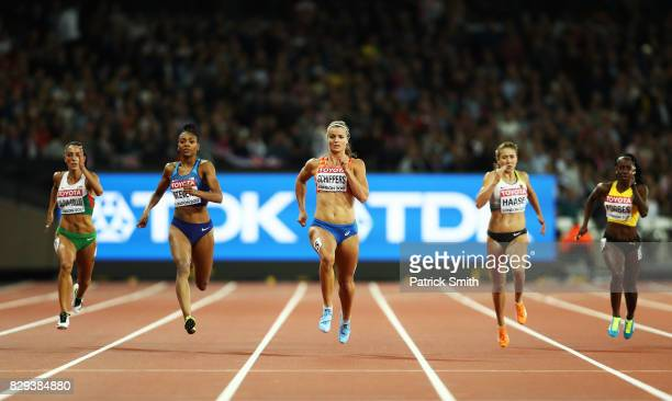 Dafne Schipper of The Netherlands Rebekka Haase of Germany and Deajah Stevens of the United States compete in the womens 200 metres semi finals...