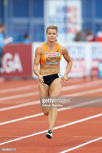 Dafne Schippers of Netherlands in action during the semi final of the women 100m during the European Athletics Championships at Olympic Stadium on...