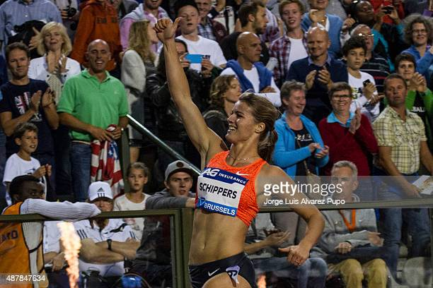 Dafne Schippers of The Netherlands celebrates after the Women's 200m during the AG Insurance Memorial Van Damme as part of the IAAF Diamond League...