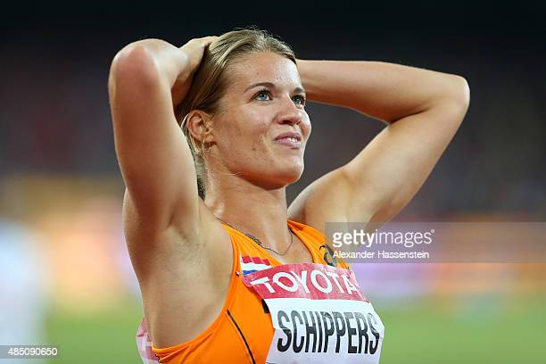Dafne Schippers of the Netherlands celebrates after winning silver in the Women's 100 metres final during day three of the 15th IAAF World Athletics...
